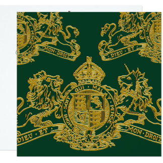 Gold Green Dieu Mon Droit British Coat of Arms Card