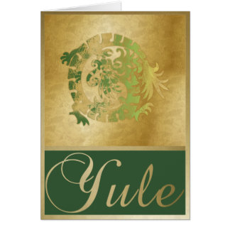Gold Green Dragon & Frames - Yule Greeting Card