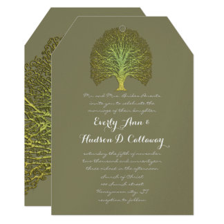 Gold Green Forest Wedding Invitation