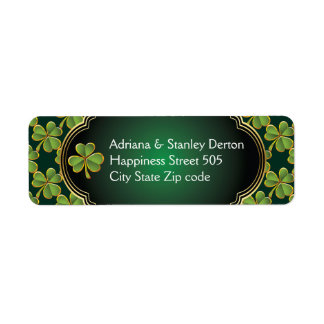 Gold, green Irish clover and frame wedding Return Address Label