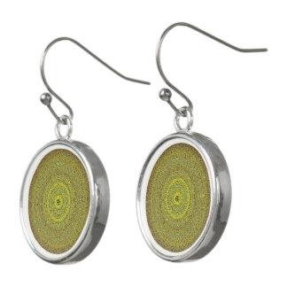 Gold Green Mandala Earrings