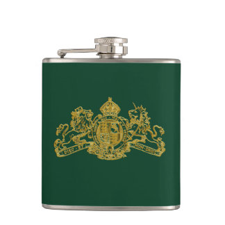 Gold Green Special Agent Issue U.K. Coat of Arms Hip Flask