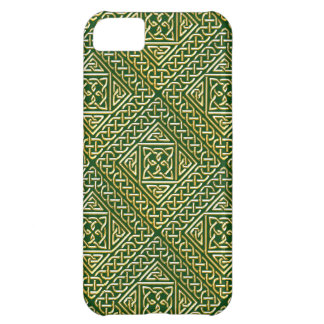 Gold Green Square Shapes Celtic Knotwork Pattern iPhone 5C Case