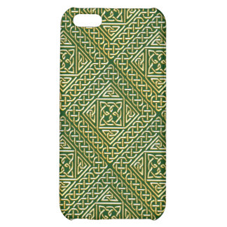 Gold Green Square Shapes Celtic Knotwork Pattern Cover For iPhone 5C