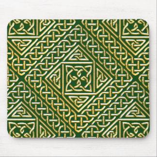 Gold Green Square Shapes Celtic Knotwork Pattern Mousepads