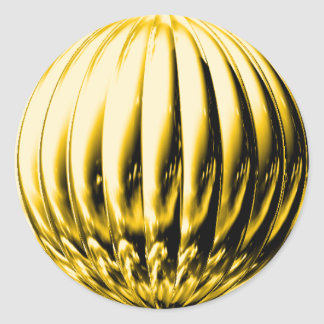 Gold grooved ball round sticker