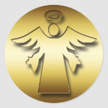 GOLD GUARDIAN ANGEL CLASSIC ROUND STICKER
