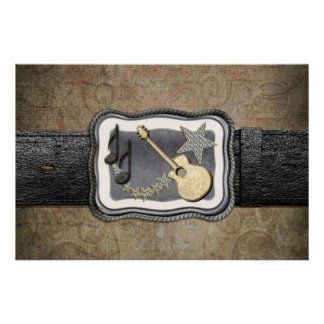 Gold Guitar Buckle Poster
