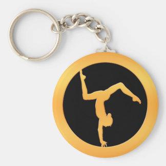 Gold Gymnast Basic Round Button Key Ring