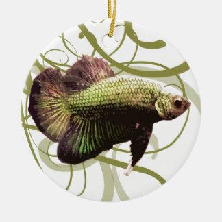 Gold Half-moon Betta Siamese Fighting Fish Ceramic Ornament