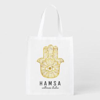 Gold Hamsa Reusable Bags