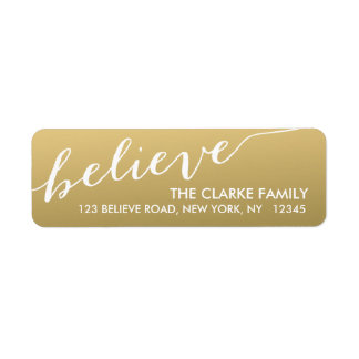 Gold Hand Lettered Believe Holiday Return Address Label