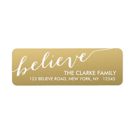 Gold Hand Lettered Believe Holiday Return Address Label