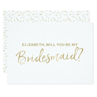 "Gold Hand lettered ""Will you be my bridesmaid"" 13 Cm X 18 Cm Invitation Card"