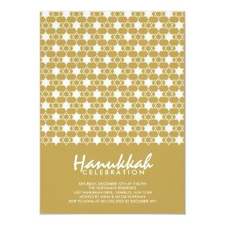 Gold Hanukkah Stars Of David Holiday Party Invite