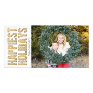 Gold Happiest Holidays Photo Greeting Card