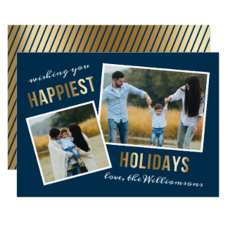 Gold Happiest Holidays Script Christmas Photo Card