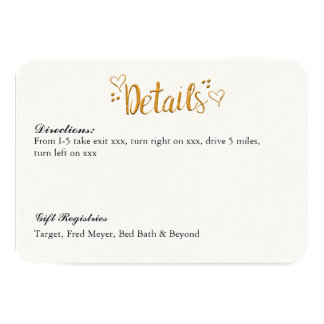 Gold Happily Ever After Wedding Details Card