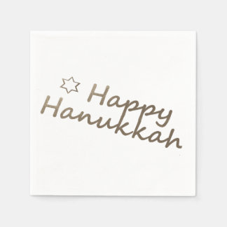 Gold Happy Hanukkah Star Napkins Paper Napkin