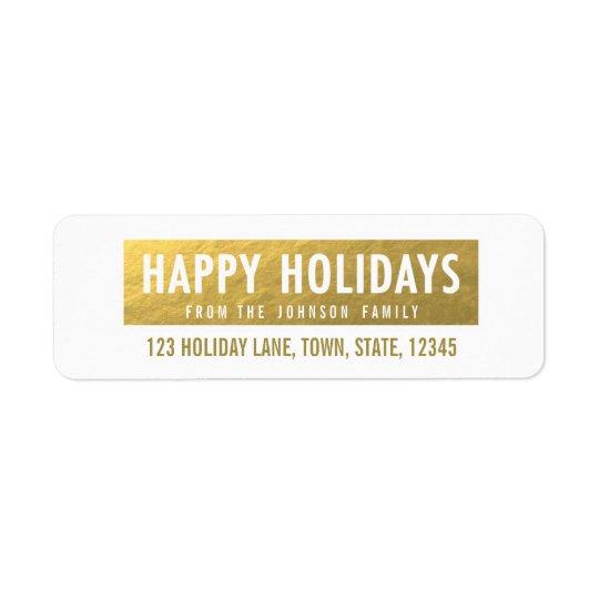 Gold Happy Holidays Return Address Label