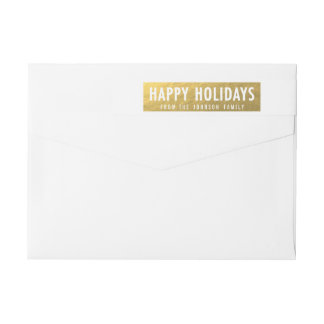 Gold Happy Holidays Wraparound Address Label