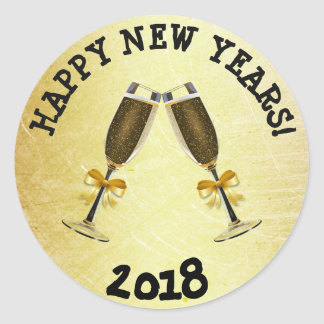 Gold Happy New Year 2018 Stickers