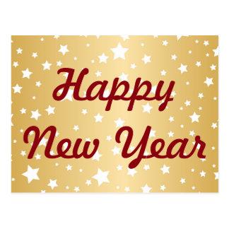 Gold Happy New Year Stars Postcard