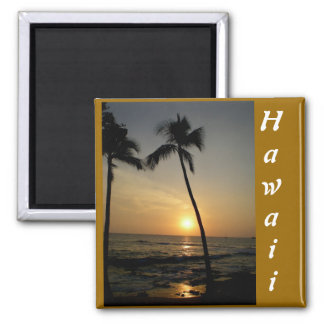 Gold Hawaiian Sunset Square Magnet