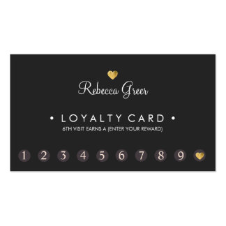 Gold Heart 10 Punch Salon Customer Loyalty Card Pack Of Standard Business Cards