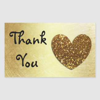 """Gold Heart and Glitter 'Thank You"""" Stickers"""