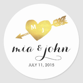 Gold Heart & Arrow Monogram Wedding Favor Stickers