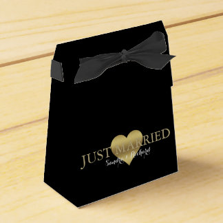 Gold Heart Black & Gold Wedding Party Favor Boxes