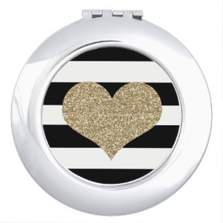Gold Heart Black/White Round Compact Mirror