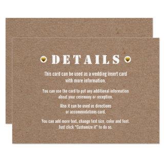 Gold heart cardboard wedding details insert card 9 cm x 13 cm invitation card