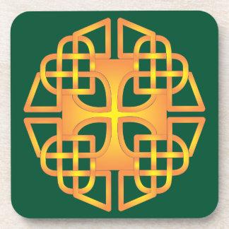 Gold Heart Celtic Cross Cork Coaster