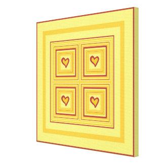 Gold Heart Design 2 Quad, small Canvas Print