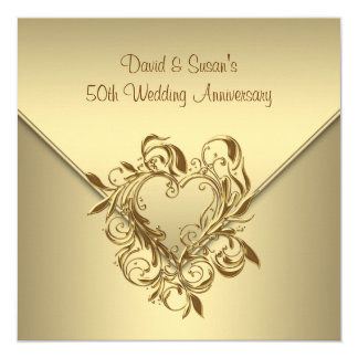 Gold Heart Elegant Gold 50th Wedding Anniversary Card
