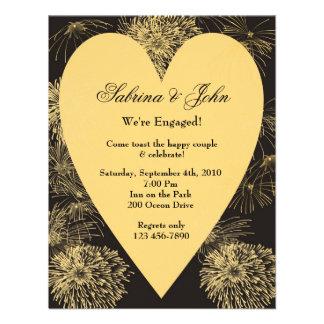 Gold Heart Engagement Invitation