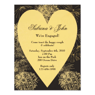 Gold Heart Engagement Invitation