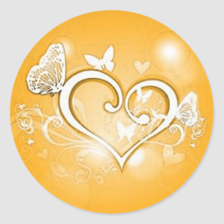 Gold heart envelope seal round sticker