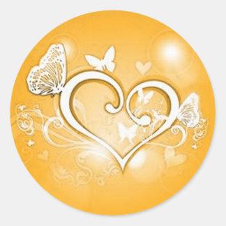 Gold heart envelope seal round sticker