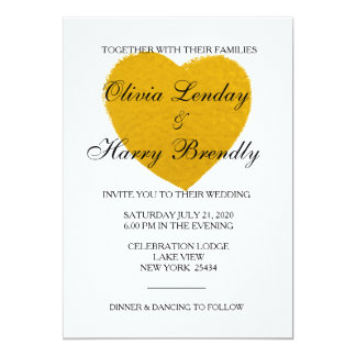 Gold Heart - Faux Foil Wedding Card