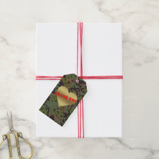 Gold Heart GI Camouflage Party Gift Tags