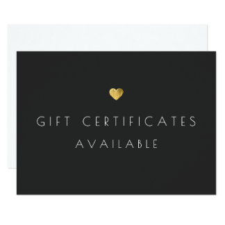 Gold Heart Gift Certificate Promotional Signage Card