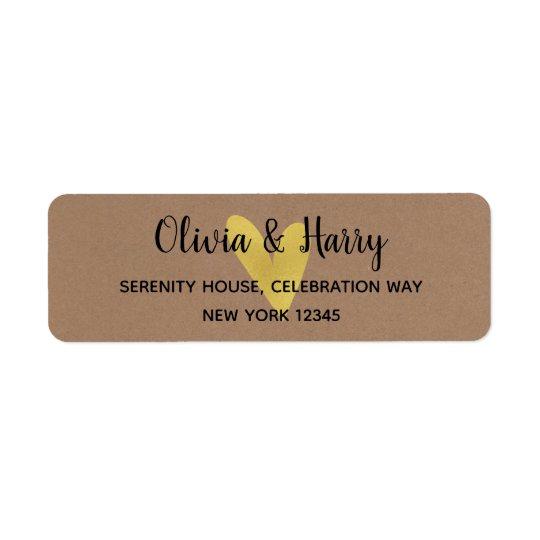 Gold Heart Kraft Wedding Return Address Labels
