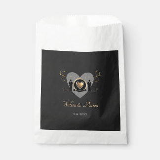 Gold Heart Male Wedding | Favor Bags
