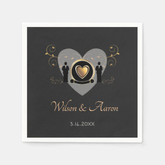 Gold Heart Male Wedding | Paper Napkin