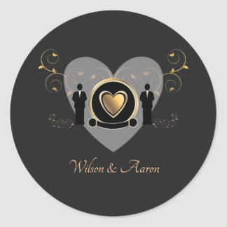 Gold Heart Male Wedding | Sticker