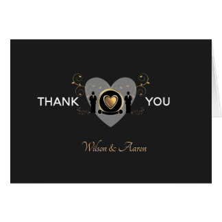 Gold Heart Male Wedding | Thank You Card