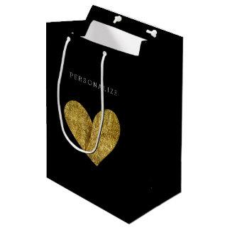 Gold Heart Medium Gift Bag